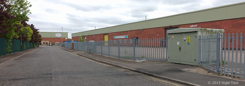 Buildings across track bed of GCR at Abbey Lane sidings, Leicester